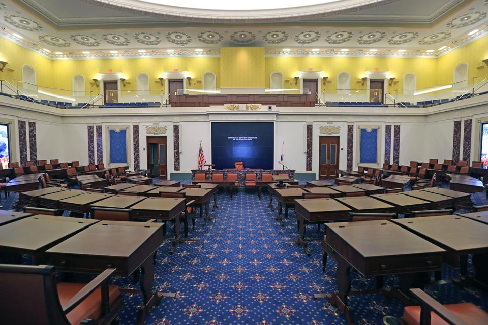 A full-scale replica of the US Senate chamber is the centerpiece of the Edward M. Kennedy Institute.